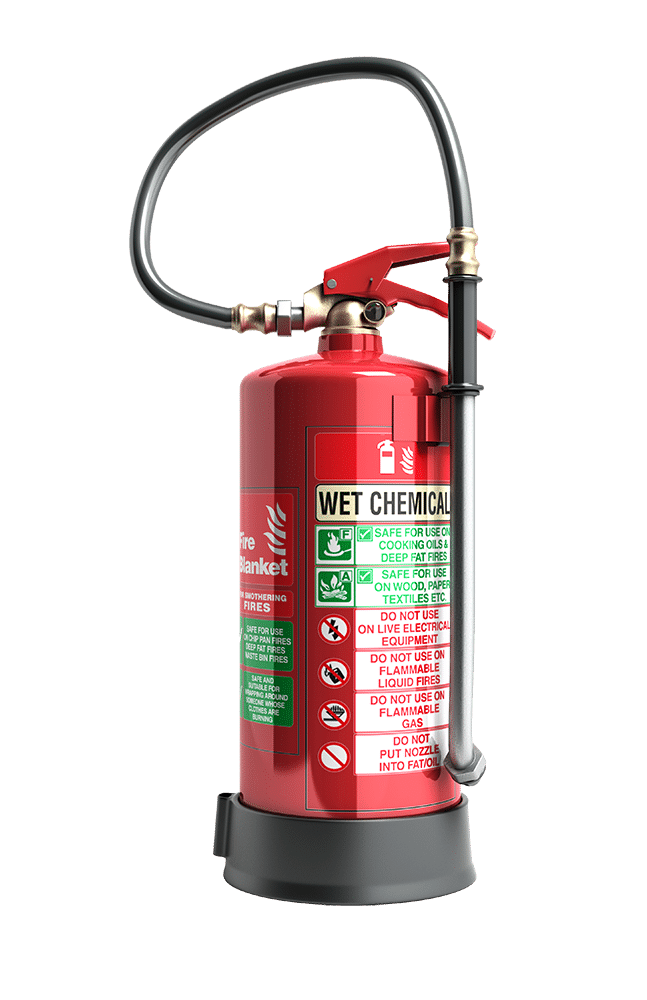 fire extinguisher with wet chemicals content