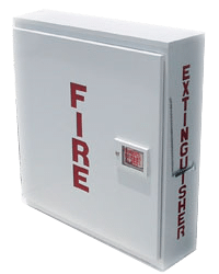fire cabinet wire fire extinguisher has been placed